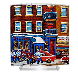St Viateur Bagel With Hockey Montreal Winter Street Scene Shower Curtain by Carole Spandau