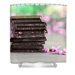 Stack Of Chocolate Shower Curtain by Nailia Schwarz