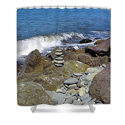 Shower Curtain featuring the photograph Stacked Against The Waves by Tikvah's Hope