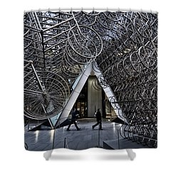 Stacked Bicycles  Shower Curtain by Shirley Mitchell