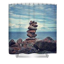 Stacked Zen Shower Curtain by Karen Stahlros