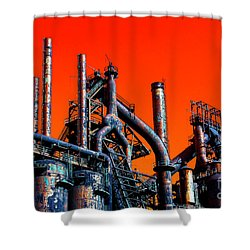 Stacks Of Steel Pop Art Shower Curtain