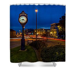 Shower Curtain featuring the photograph Stadium Clock During The Blue Hour by Rob Green