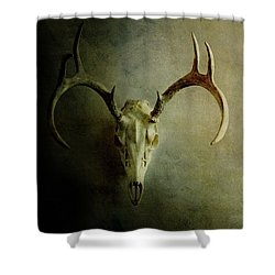 Shower Curtain featuring the photograph Stag Skull by Stephanie Frey