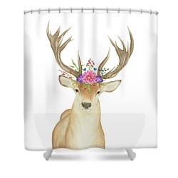 Stag Watercolor  Shower Curtain by Taylan Apukovska