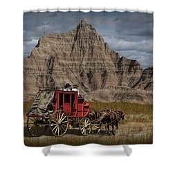 Stage Coach In The Badlands Shower Curtain by Randall Nyhof