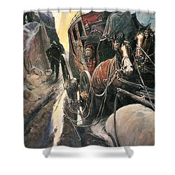 Stagecoach Robbers Shower Curtain by Granger