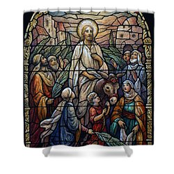 Stained Glass - Palm Sunday Shower Curtain