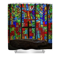 Stained Glass And Stone Altar Shower Curtain
