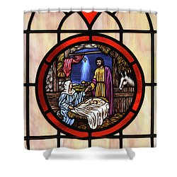 Stained Glass Nativity Window Shower Curtain