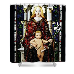 Stained Glass Of Virgin Mary Shower Curtain by Adam Romanowicz