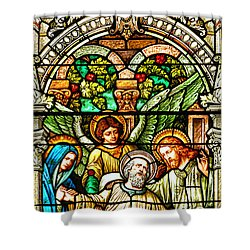 Shower Curtain featuring the photograph Stained Glass Scene 1 Crop by Adam Jewell