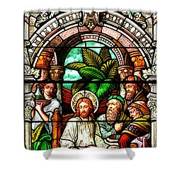 Shower Curtain featuring the photograph Stained Glass Scene 11 Crop by Adam Jewell