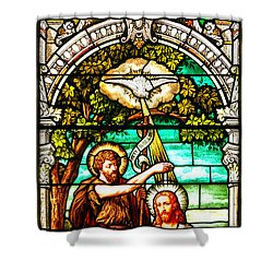 Shower Curtain featuring the photograph Stained Glass Scene 2 Crop 2 by Adam Jewell