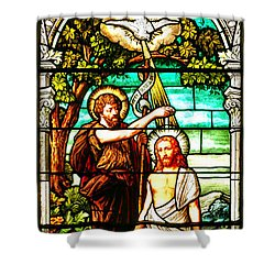 Shower Curtain featuring the photograph Stained Glass Scene 2 Crop by Adam Jewell