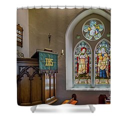 Shower Curtain featuring the photograph Stained Glass Uk by Adrian Evans