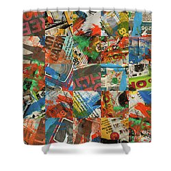 Stained Newspaper Pages Shower Curtain