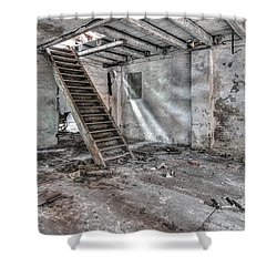 Shower Curtain featuring the photograph Stair In Old Abandoned  Building by Michal Boubin