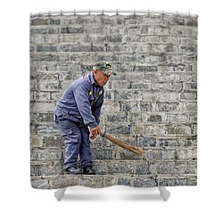 Stair Sweeper In Bhutan Shower Curtain