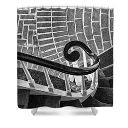 Staircase To The Plaza Black And White Shower Curtain