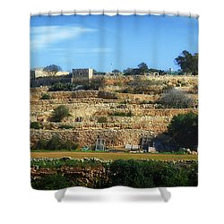 Stairs Of Rubble Shower Curtain by Stephan Grixti