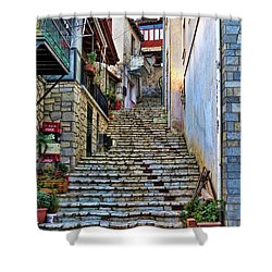 Stairs On Greek Island Shower Curtain