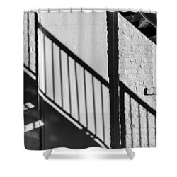 Shower Curtain featuring the photograph Stairs Railings And Shadows by Gary Slawsky