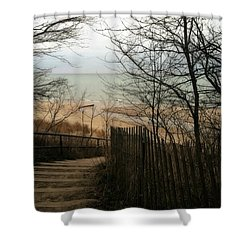 Stairs To The Beach In Winter Shower Curtain