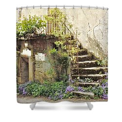 Stairway With Flowers Flavigny France Shower Curtain by Marilyn Dunlap