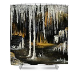 Shower Curtain featuring the painting Stalactite Cave by Anastasiya Malakhova