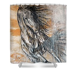 Shower Curtain featuring the painting Stallion Fury by Jennifer Godshalk