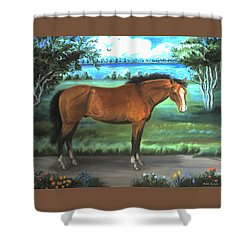 Shower Curtain featuring the painting Stallion Portrait by Dawn Senior-Trask