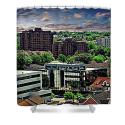 Stamford Cityscape Shower Curtain by Anthony Dezenzio