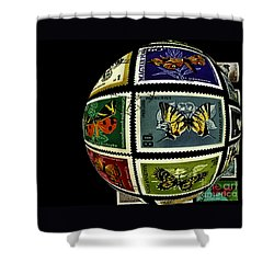 Stamp Collecting Around The World Shower Curtain by Carol F Austin
