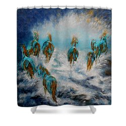 Stampede To Heaven Shower Curtain by Maris Sherwood