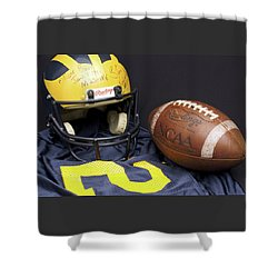 Stan Edwards's Autographed Wolverine Helmet Shower Curtain
