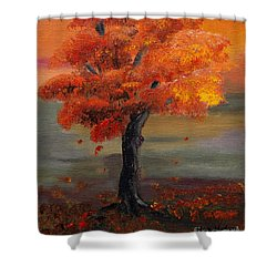 Stand Alone In Color - Autumn - Tree Shower Curtain