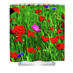 Shower Curtain featuring the digital art Stand Out by Timothy Hack