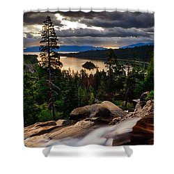 Standing At Eagle Falls Shower Curtain