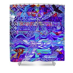 Shower Curtain featuring the painting Standing At The Edge Of The Abyss by Denise Weaver Ross