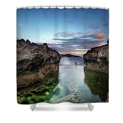 Standing At The Tip Of Sea Shower Curtain