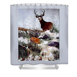 Shower Curtain featuring the painting Standing Guard by Nancy Jolley