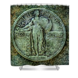 Shower Curtain featuring the digital art Standing Libery Quarter Obverse by Randy Steele