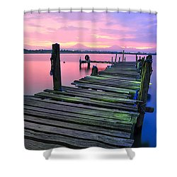 Standing On A Wooden Bridge Shower Curtain
