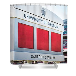 Shower Curtain featuring the photograph Standing Tall Over Sanford Stadium  by Parker Cunningham