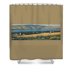 Shower Curtain featuring the painting Stanford By The Bay by Gary Coleman