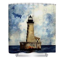 Stannard Rock Lighthouse Shower Curtain by Michael Vigliotti