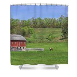 Shower Curtain featuring the digital art Star And Moon Barn by Sharon Batdorf