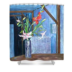 Star Gazer Lilies And Gladiolus In A Crystal Vase Shower Curtain
