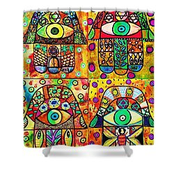 Star Of David Hamsa Shower Curtain by Sandra Silberzweig